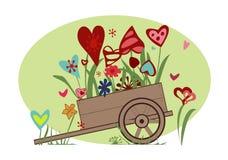 Цветочная композиция от сердец в тележке Бесплатная Иллюстрация