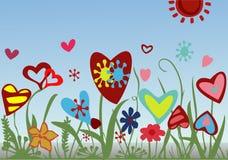 Цветочная композиция от сердец на голубой предпосылке Иллюстрация вектора