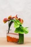 Цветочная композиция с лилиями Calla, антуриумом и растительностью дальше Стоковые Изображения RF