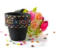 Цветочный горшок мозаики Стоковые Изображения