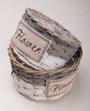 Цветочный горшок пустой корзины соломы handmade Стоковое Фото
