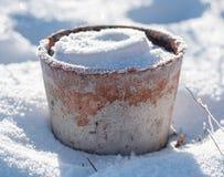 Цветочный горшок с снегом и Frost Стоковые Изображения RF
