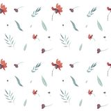цветочный узор акварели безшовной руки вычерченный с красными цветками бесплатная иллюстрация