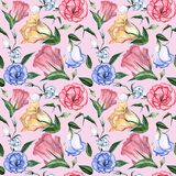 Цветочный узор акварели безшовный Стоковые Изображения