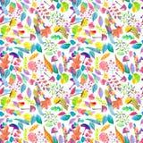 Цветочный узор акварели безшовный с цветками и грибами Стоковые Изображения RF