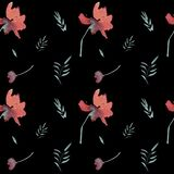 Цветочный узор безшовной акварели винтажный с красными цветками бесплатная иллюстрация