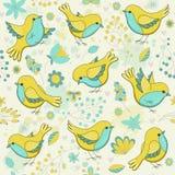 Цветочный узор вектора безшовный с птицами иллюстрация вектора