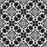 Цветочный узор вектора винтажный безшовный черно-белый Стоковая Фотография