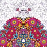 Цветочный узор вектора в стиле doodle с цветками стоковая фотография