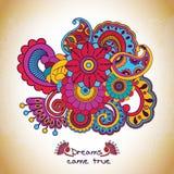Цветочный узор вектора в стиле doodle с цветками Стоковое Изображение