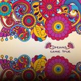 Цветочный узор вектора в стиле doodle с цветками Стоковое Фото