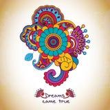 Цветочный узор вектора в стиле doodle с цветками Стоковые Изображения