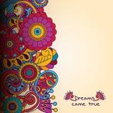 Цветочный узор вектора в стиле doodle с цветками стоковые фото