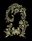 Цветочный узор вектора золотой Этнический орнамент цветка Стоковое фото RF