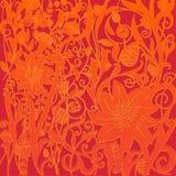 Цветочный узор вектора красный оранжевый в викторианском стиле Стоковое Изображение RF