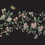 Цветочный узор вышивки безшовный с ветвью тропической Японии Стоковые Изображения RF