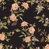 Цветочный узор вышивки безшовный с пионами и бабочками Стоковое Изображение RF