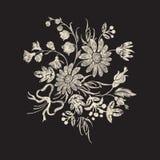 Цветочный узор вышивки с стоцветами, смычком и цветками Стоковое фото RF