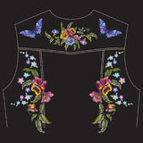 Цветочный узор вышивки с pansies для задней части куртки джинсов Стоковое Изображение RF