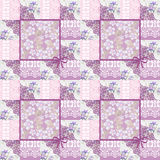 Цветочный узор заплатки безшовный кружевной ретро розовый Стоковое Фото