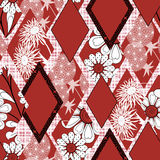 Цветочный узор красный, белая предпосылка заплатки безшовный Стоковое фото RF