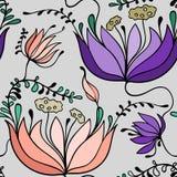 Цветочный узор нарисованный рукой Стоковые Изображения RF