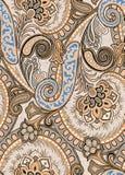 Цветочный узор Пейсли в русском стиле Медальон с красными маком и светом - голубыми цветками Дизайн зимы Стоковое Изображение