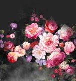 Цветочный узор Пейсли в русском стиле Медальон с красными маком и светом - голубыми цветками Дизайн зимы Стоковое Фото
