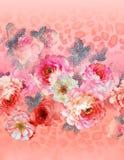Цветочный узор Пейсли в русском стиле Медальон с красными маком и светом - голубыми цветками Дизайн зимы Стоковые Фото