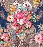 Цветочный узор Пейсли в русском стиле Медальон с красными маком и светом - голубыми цветками Дизайн зимы Стоковые Фотографии RF