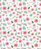 Цветочный узор повторения акварели с розовыми бутонами, ягодами и цветками иллюстрация штока