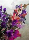 Цветочный узор предпосылки акварели абстрактный цветет обои руки украшения текстуры ветви цветения яркие запачканные красивые Стоковые Изображения