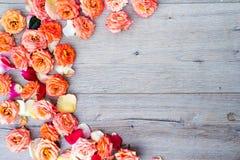 Цветочный узор, рамка сделанная роз на деревянной предпосылке Плоское положение, взгляд сверху Валентайн предпосылки s Стоковая Фотография
