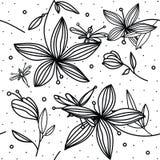 цветочный узор Рук-чертежа простой с лилией и dragonfly цветка на белой предпосылке иллюстрация штока