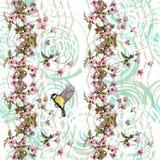 Цветочный узор Сакура и птица на орнаменте шеврона Стоковое фото RF