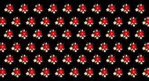 Цветочный узор с небольшими красными цветками на черной иллюстрации предпосылки 3D стоковые изображения