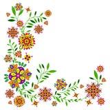 Цветочный узор с цветками и листьями Стоковые Фото