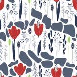 Цветочный узор тюльпанов иллюстрация штока