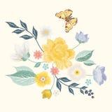 Цветочный узор упрощенный вышивкой с бабочкой и цветками Стоковая Фотография RF