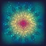 Цветочный узор чувствительного шнурка вектора круглый Стоковые Изображения