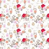 Цветочный узор Ditsy безшовный с различными розами, маргаритками и листьями на белой предпосылке иллюстрация вектора