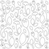 Цветочный узор Monochrome вектора Текстура нарисованная рукой флористическая Эскиз расцветки Стоковая Фотография