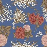 Цветы вектор предпосылки безшовный сбор винограда милой иллюстрации птиц установленный Стоковое Фото