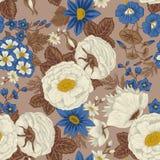 Цветы вектор предпосылки безшовный сбор винограда милой иллюстрации птиц установленный Стоковое Изображение