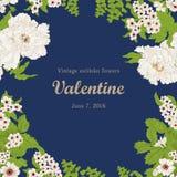 Цветы Винтаж также вектор иллюстрации притяжки corel карточка стильная ботаническую желтый цвет картины сердца цветков падения ба Стоковые Изображения