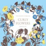 Цветы Гольцы Классическая открытка в винтажном стиле Ботаническая иллюстрация Стоковое фото RF