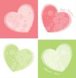 цветы карточки конструируют сердце 2 иллюстрация вектора