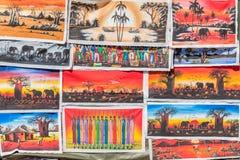 Цветы коллажа холстины искусств африканские торгуя магазином Стоковое Изображение