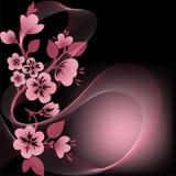 Цветя ветвь на черноте иллюстрация штока