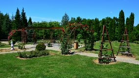 Цветя своды красной розы декоративные в rosarium дендропарка Mlynany, Словакии Стоковые Изображения